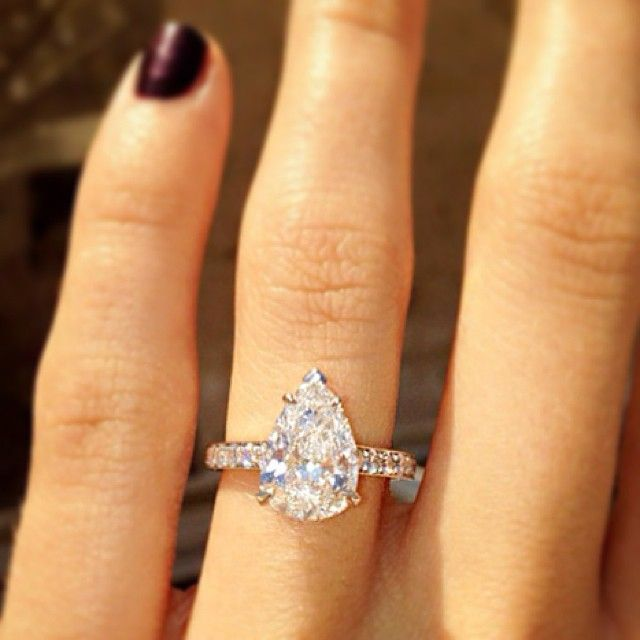 """@bensimondiamonds's photo: """"A pretty pear for a pretty pair: Jason Wahler (The Hills, Laguna Beach) married Ashley Slack last week.  He proposed in January with a pear-shaped diamond (Image source: Ashley Slack Instagram) #diamond #engagement #ring #pear #inspiration"""""""