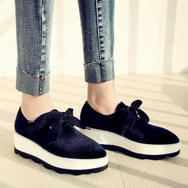 Platform Wedge Heel Pointy Toe Lace Up Breathable Casual Women Oxfords Shoes