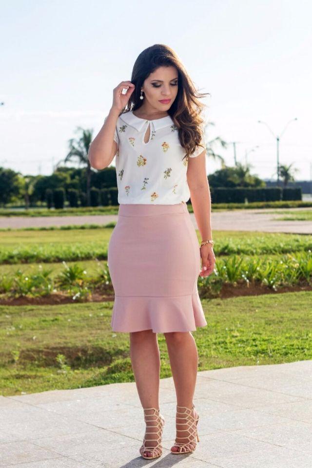 Conjunto Erica Saia Sino Rose e Blusa Estampada em Crepe 8745
