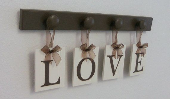 LOVE Hanging Letter Sign Includes 4  Pegs and Wooden Letters Painted Chocolate Brown. Custom gift for husband, wife, spouse., $25.00