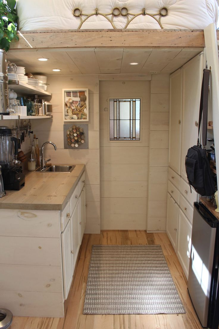 Tiny Hall House, An owner-built 160 square feet tiny house on wheels that houses three people in Massachusetts. (pinned by haw-creek.com)