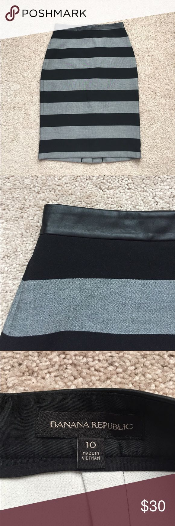 "Banana republic black and gray pencil skirt sz 10 Excellent condition black and gray striped pencil skirt with faux leather waistband ! Zips in back and sits high waisted. Waist measures 15.5""and length is 26.5"" Banana Republic Skirts Pencil"