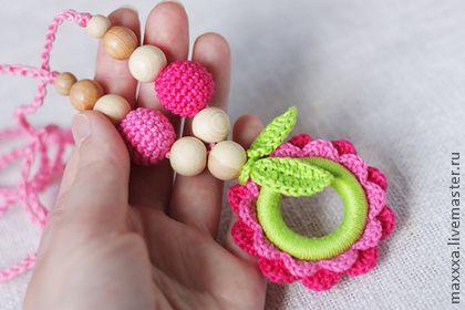 Детская бижутерия ручной работы. Ярмарка Мастеров - ручная работа Слингобусы (слингокулон) с розовым цветком. Handmade.