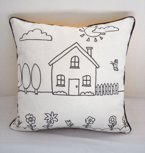 Colouring In House Design Cushion Cover