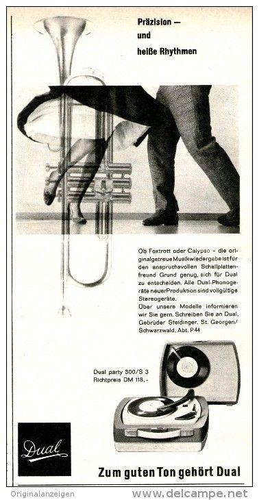 Original-Werbung/Inserat/ Anzeige 1960 - DUAL PLATTENSPIELER - ca. 110 X 210 mm