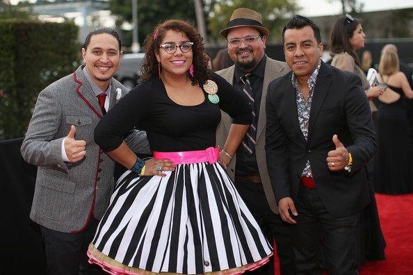 (L-R) Musicians Alex Bendana, La Marisoul, Miguel Ramirez, and Jose Carlos of La Santa Cecilia attend the 56th GRAMMY Awards at Staples Center on January 26, 2014 in Los Angeles, California.