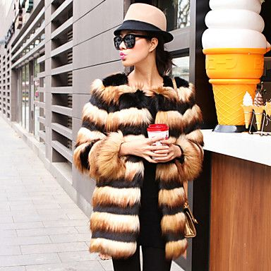 Long Sleeve Collarless Faux Fur Party/Casual Coat – USD $ 79.99