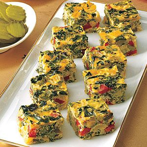 Another good Christmas morning breakfast idea.  Vegetable Frittata Squares | MyRecipes.com