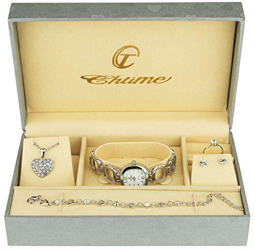 Coffret cadeau Montre Femme Argent- Parure de Bijoux- Collier-Bague- Boucles d'oreilles – Bracelet: Faites vous plaisir ou offrez ce…