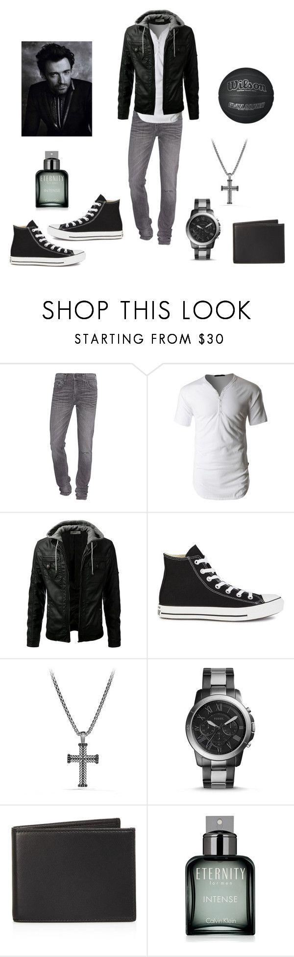 """Black and white"" by jessiestarman ❤ liked on Polyvore featuring True Religion, LE3NO, Converse, David Yurman, FOSSIL, The Men's Store, Calvin Klein, men's fashion and menswear"