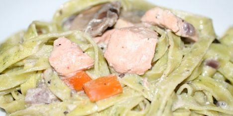 Pasta og laks med rodfrugter, svampe og estragon