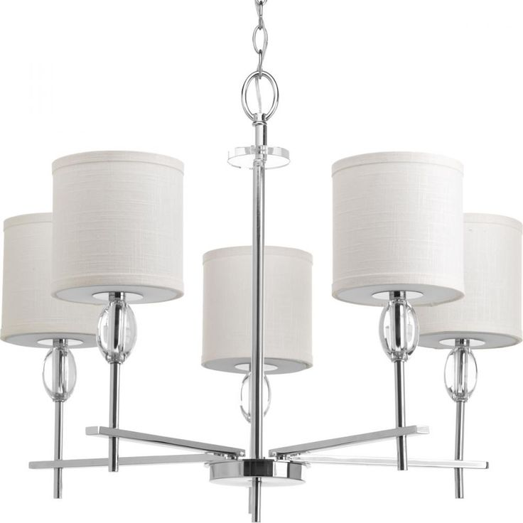 5-Lt. Chandelier w/K9 Glass Accent with Fabric Shade : 6JFQ3 | Richardson Lighting