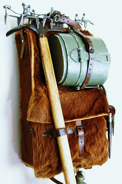 """Vintage Swiss Military gear: cowhide """"Tornister"""" rucksack, alpine piolet (ice axe), crampons & """"Gamelle"""" canteen"""