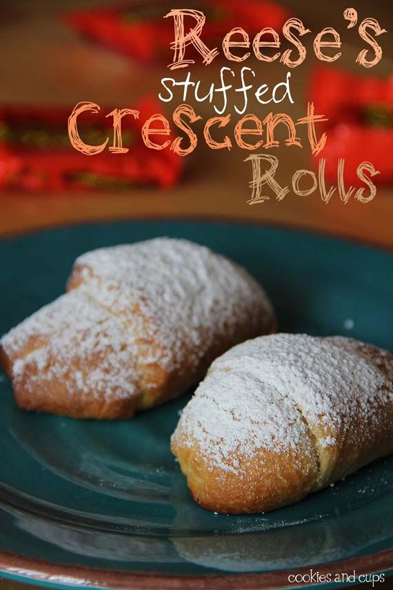 Charlie would love this: Powder Sugar, Stuffed Crescents Rolls, Sprinkles, Reese Stuffed, Stuffed Crescent Rolls, Crescents Rolls Recipe, Ovens, Ree Stuffed, Peanut Butter Cups