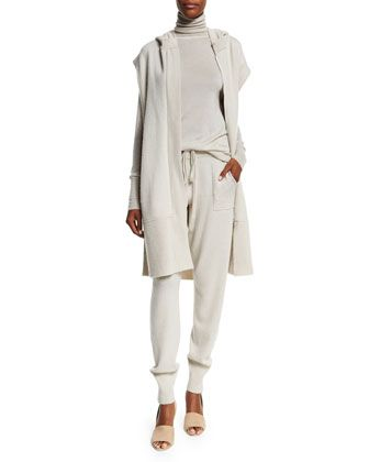 Hooded+Zip-Front+Long+Cashmere+Vest,+Cashmere+Turtleneck+Sweater+&+Cashmere+Jogger+Pants,+Natural+by+Donna+Karan+at+Neiman+Marcus.
