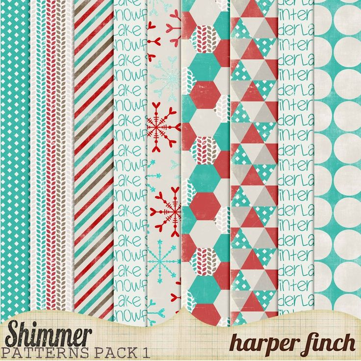 Free winter paper pack--Shimmer, Pattern Paper Pack One by ~harperfinch