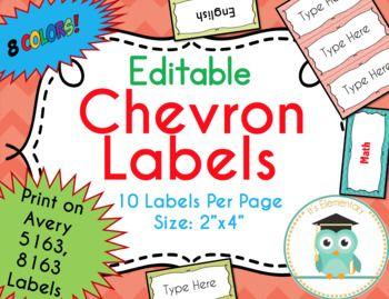 chevron labels editable classroom notebook folder name party avery