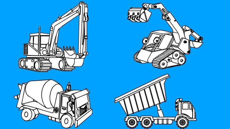 Learn colors for kids and color construction truck coloring pages, KidsT...