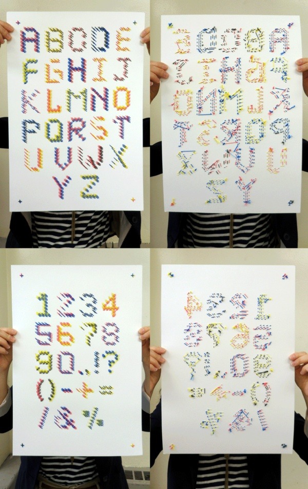 stereoscopic stitched typeface