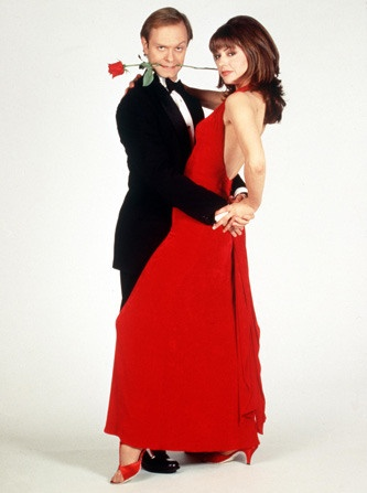 Jane Leeves and David Hyde Pierce as Daphne Moon and Niles Crane in Frasier // the dance, and Niles' happy place lol