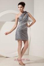 Beautiful Grey Column One Shoulder Short Prom Dress Mini-length Chiffon Beading   http://www.fashionos.com  2013 empire prom dress | one shoulder mini length prom dress | beautiful one shoulder prom dress | one shoulder sleeveless prom dress | recommend prom dress plus size in arkansas | beading and ruching prom dress | empire short grey prom dress | 2013 designer short grey prom dress | 2013 beautiful grey prom dress | mini length grey prom dress | grey sequin prom dress |
