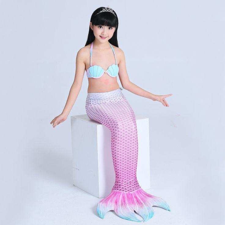 2017 Girls Mermaid Tail Costume Kids Mermaid Tails For Swimming With Monofin Children Swimmable Mermaid Bikini Set Beach Cloth