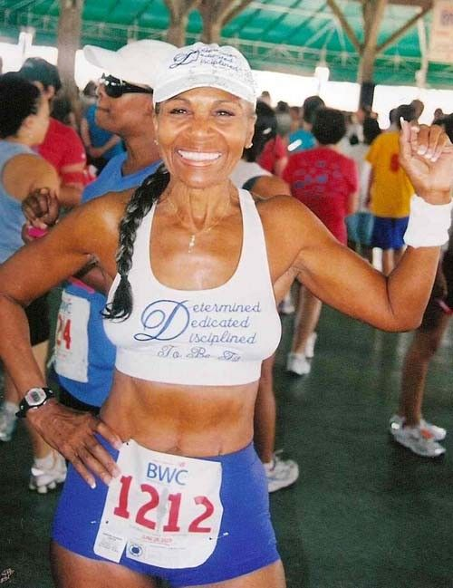 """Ernestine Shepherd, age 75:  """"wakes up at 3 a.m. every day to meditate, and then clocks up runs totaling 10 mi (16 km) before lunch. In 2010 and 2011 she was recognized by Guiness as [the] oldest competitive female bodybuilder in the world."""""""