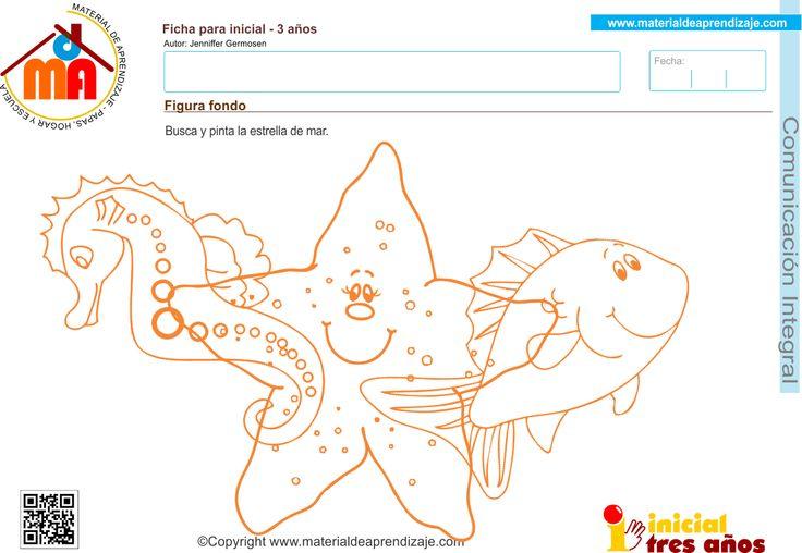 Actividad a realizar: Figura - fondo. Busca y pinta la estrella de mar Coordinación visomotriz: Pintar Capacidad: Reconocer