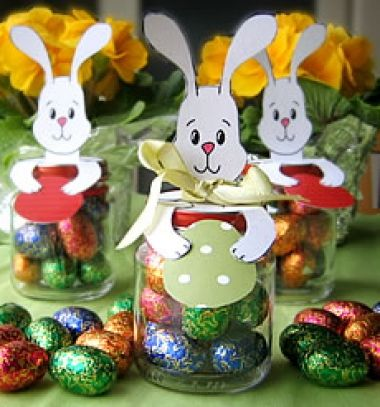 DIY Easter bunny treat jars ( with free easter printable )