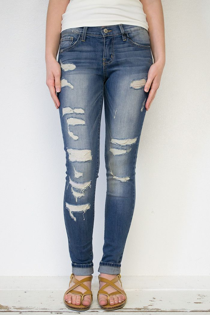 Amazing cuffed cropped ripped skinny jeans, 5-pocket. Flying Monkey brand. Great to pair with anything! Seriously!