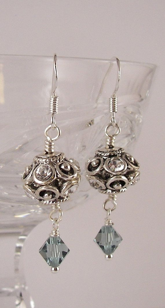 Pretty Indian Sapphire Swarovski Crystal Dangle Earrings    Hand made 6mm Indian Sapphire blur Swarovski Crystal beads, round filagree beads with
