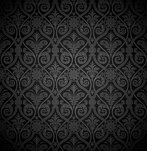 XOOplate Black Vintage Damask Pattern Vector Background