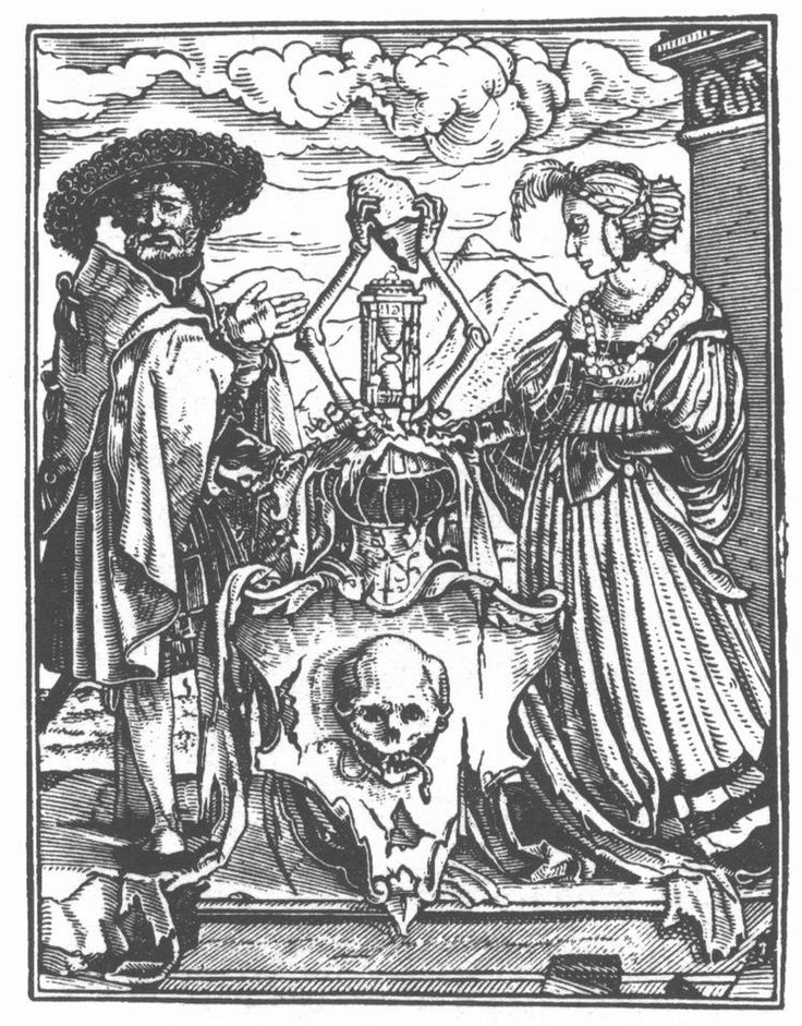 Holbein d. J.; Danse Macabre. XLI. The Allegorical Escutcheon of Death.