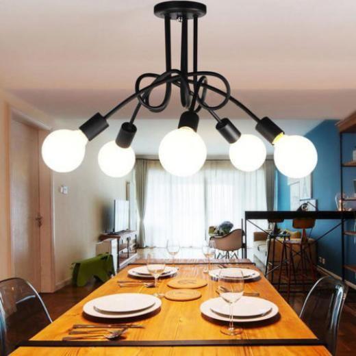 "Vintage Industrial 5 Heads Ceiling Lamp Edison Light Chandelier Pendant Lighting Kid's Bedroom Black Glass Wrought Iron Modern 23"" - 30"""