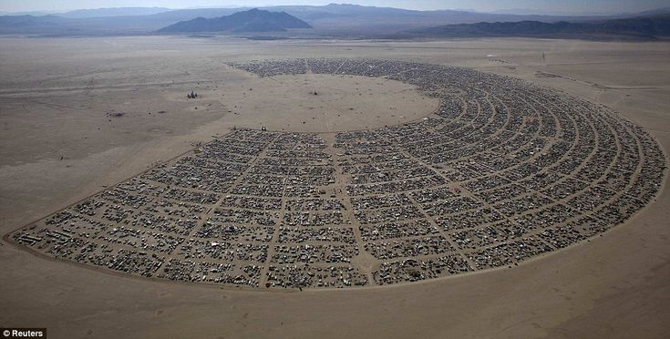 The Burning Man 'Rites of Passage' arts and music festival is seen in this aerial view taken in the Black Rock desert of Nevada