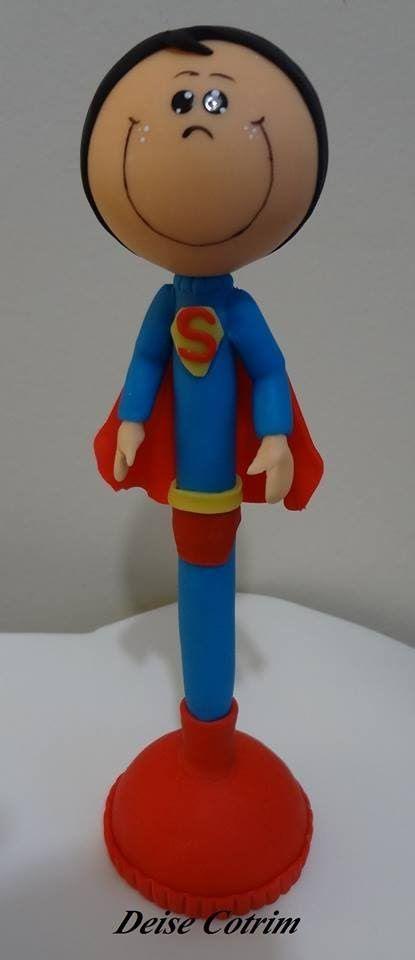 CANETA DECORADA SUPER MAN BISCUIT COM DEISE COTRIM - SABOR DE VIDA ARTES...