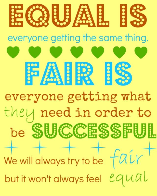 fair is not always equal...good way for the kids to ...