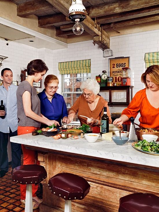 Chef Lidia Bastianich cooking with her family. #RRItaly | Find Lidia's 8 amazing sauce recipes here: http://www.rachaelraymag.com/recipes/special-recipe-collections/8-italian-recipes-from-lidia-bastianiach/