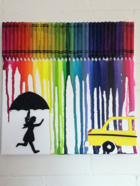 #ladybird2turtle #pinadaysep #taxi Melted Crayon Art  Girl with Umbrella/Taxi by MeltGallery on Etsy, $50.00