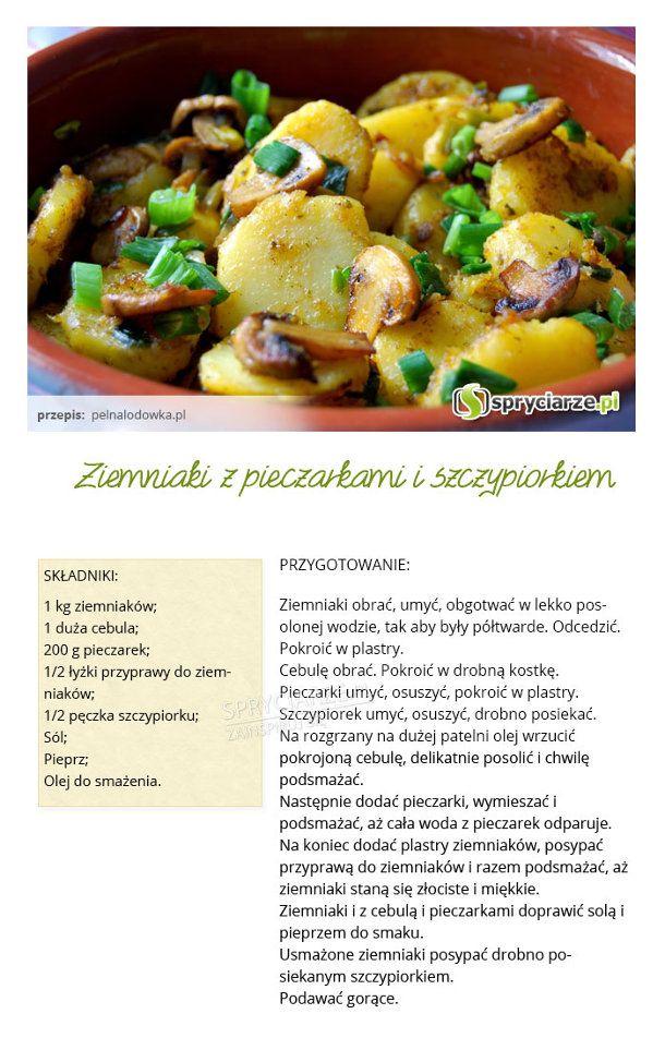 Przepis na ziemniaki z pieczarkami i szczypiorkiem