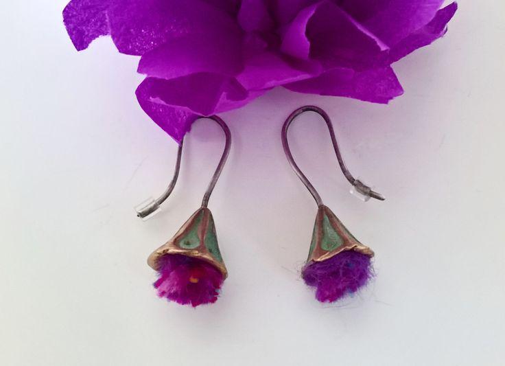 Mauve Flower Earrings Dangle Earrings Light Weight Earrings Everyday Earrings Birthday Gift Girlfriend Gift Mother's Gift Daughter Gift by CarducciArt on Etsy