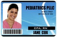Create custom photo ID badges for you, your children, and pets in case of emergency. Name, birth year, blood type, allergies, emergency contact info, medical conditions, etc.