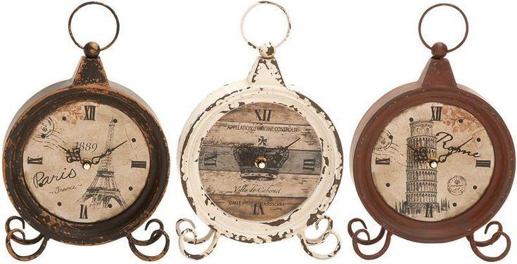 """Bayden Hill Metal Clock 3 Asst 10""""H, 7""""W"""