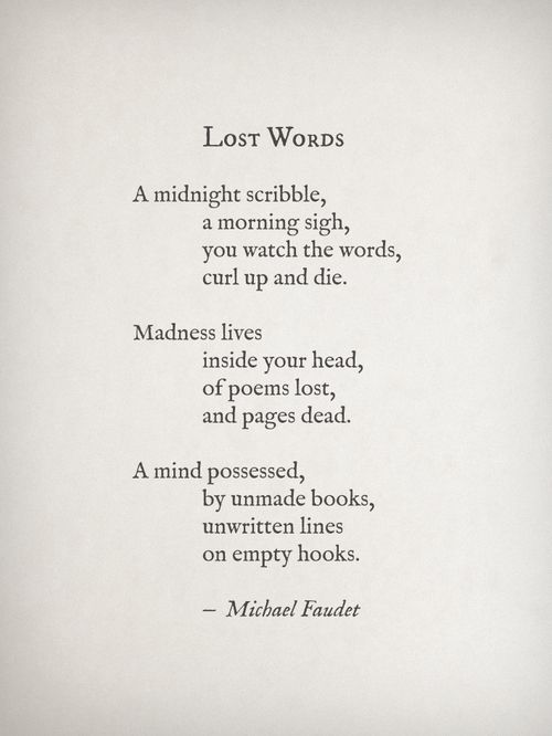 Lost Words by Michael Faudet Follow him here
