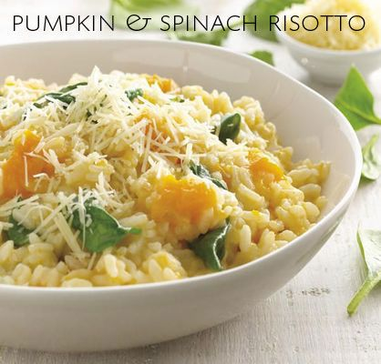 pumpkin and spinach risotto