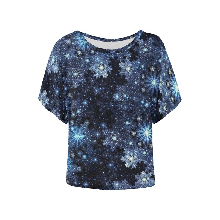 Wintery Blue Snowflake Pattern Women's Batwing-Sleeved Blouse T shirt (Model T44).The magic & sparkle of snowflakes on a dark blue background.