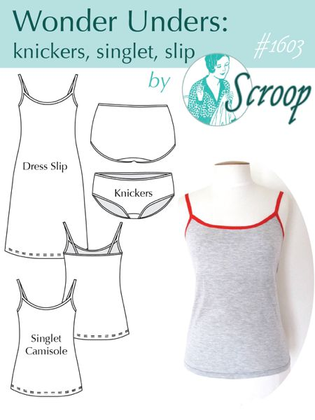 Introducing the Wonder Unders! Easy-to-make undergarments for daily wear. Make it yourself with the sewing pattern from Scroop Patterns. US$12, Sizes 30-50 Difficulty: Easy.