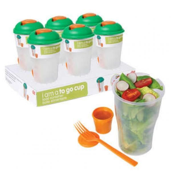 Have lunch with an option to make it healthy and easy when you use the I Am A To Go Cup by DCI. This cannister has a screw on lid, comes with a fork and small cannister for salad dressing. It can be u