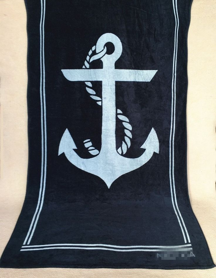 Extra-Large Top Quality 100% Cotton Anchor Print Beach Towel 3 Colors