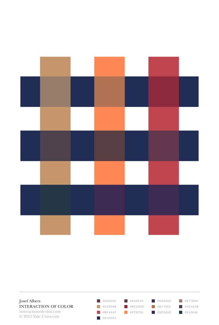 """Josef Albers' Interaction of Color: """"transparence and space illusion"""" color study"""
